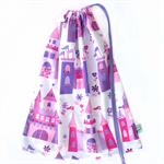 Drawstring Library or Toy Bag. Pink & Purple Castles & Flowers. Option to Name!