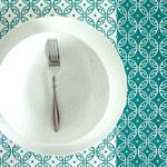 'Moroccan' Tea Towel, handscreenprinted, glitter, 100% offwhite Linen, aqua