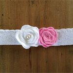 White Lace Pink/White Flower headband