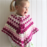 Crochet Poncho - toddler, woollen, pink and cream