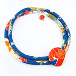 Kimono Cord Necklace Vibrant Blue and Orange
