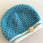 Girls slouchie / beret / beanie - pure wool crochet - teal blue