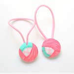 Pink and blue fabric hair ties, hair bands, ponytail holders,