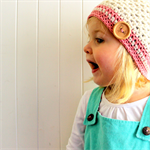 Girls slouchie / beret / beanie - pure wool crochet - cream & pink
