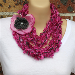 Hot Pink Grey Crochet Yarn Infinity Necklace  and Brooch by Top Shelf