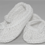 Baby Shoes, 6 to 12 months, Crochet, Ballet Shoes, Booties, White shoes.