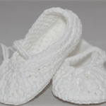 Baby Shoes, 0 to 6 months, Crochet, Ballet Shoes, Booties, White shoes.
