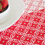 'Moroccan' Tea Towel, hand screen printed, glitter, 100% off white Linen, red