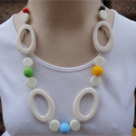 Funky White & Brights Oval Necklace