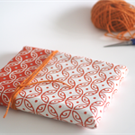 'Moroccan' Tea Towel, hand screen printed, glitter, 100% off white Linen, orange