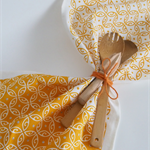 'Moroccan' Tea Towel, hand screen printed, glitter, 100% off white Linen,mustard