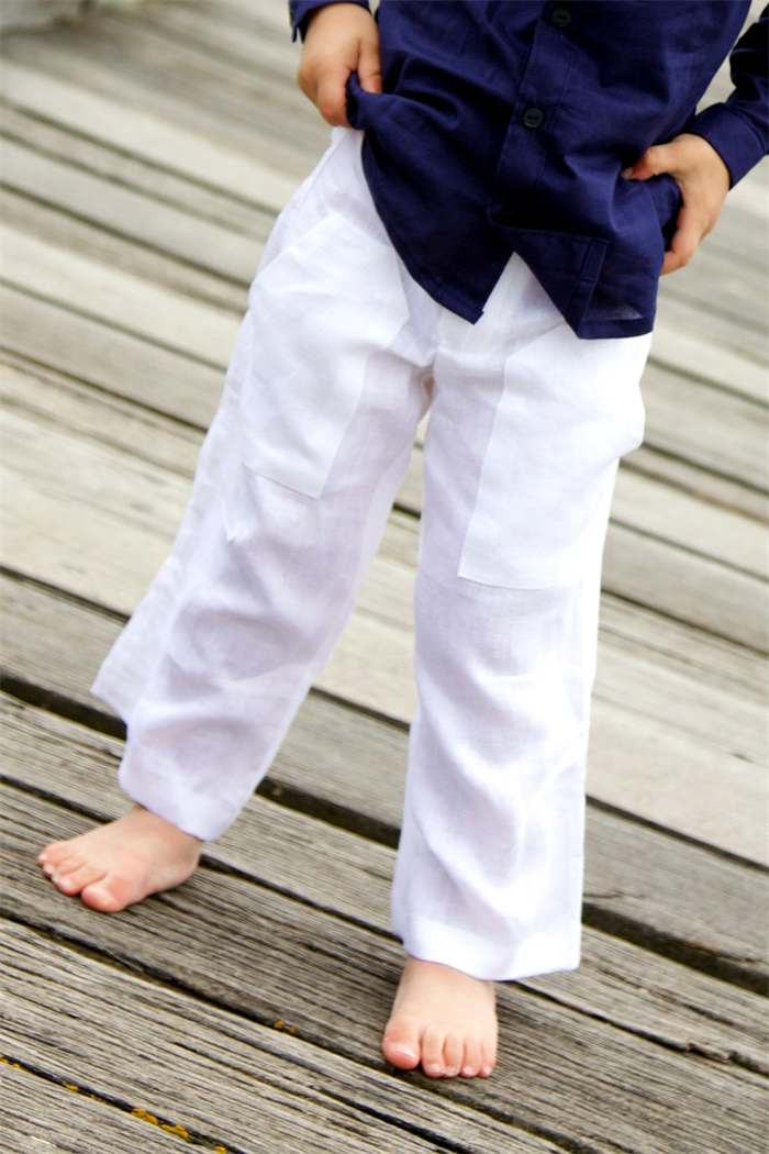 white linen pants boys - Pi Pants