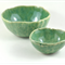 Ceramic Stoneware Nesting Bowls Set of Two Rustic Oval Green  Handmade Pottery