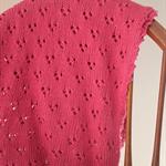 Pink Eyelet Pram Blanket - Hand knitted