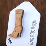 Wooden Boot Brooch