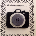 Felt camera geek brooch