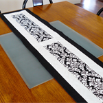 Table Runner - Black and white damask