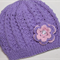 Girls Hand knitted Hat with Flower | 6M- 9M | Made to Order | Custom Colour