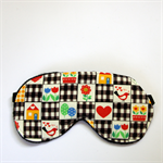 3 Layer Quilted Eye Mask - Black & White folk cottage garden with red hearts