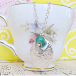 Mr Darcy Locket Charm Necklace Jade Green Jane Austen Key Hope Vintage