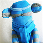 Sock Monkey Toy Blue and Grey Stripes