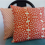 Cushion Covers - Cherry red and white wallflower Amy Butler Set of 2