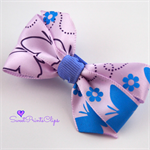 Purple and Blue Butterfly Pattern Bow Clip