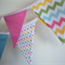 Blue, Green, Pink & Yellow Chevron, Spot, Fabric Flag Bunting, Baby, Nursery,