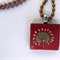 White native grass flower - painted art scrabble tile necklace