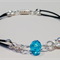 Hand made pale blue crystal on leather bracelet