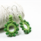 Earrings Eco friendly hemp macrame beaded hoops green