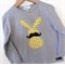 Moustache Bunny - Order your size - long or short sleeve Easter Rabbit Applique