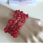 Red Crochet Wire Cuff Bracelet Handmade OOAK by Top Shelf