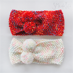 Knitted headband or collar with Pom Poms. Hand knitted. Bandana. Red or Pink.