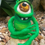 Little green Pocket monster. MADE TO ORDER Needle felted merino wool