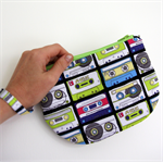 Curvy Carry-all zip purse with wristlet - Retro Music Cassettes