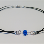 Stunning blue crystal with leather choker necklace