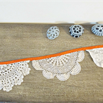 Bunting Hilda Vintage Doilies Bridal Upcycled Wall Hangings Thanksgiving Pumpkin