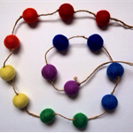 Rainbow Felt Ball Garland - fair trade