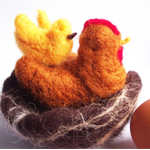 Hen, Chick and Nest- Softly needlefelted - Easter gift