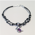 Hand made sterling silver beads and leather with dolphin charm bracelet