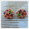 Wooden Button Earrings - Purple Green Red Flowers