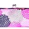 Purple flowers large clutch purse