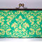 Green damask large clutch purse