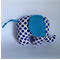 Baby elephant plush toy with blue polka dots