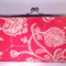 Flora in red large clutch purse