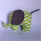 Baby elephant plush toy in green chevron.