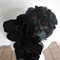 Winter Dew...black felt sculptured flowers teal blue exotic feathers fascinator