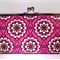 Fancy purple buttons large clutch purse