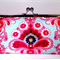 French wallpaper in blue large clutch purse